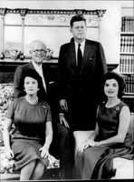 Businessman Joseph P. Kennedy with his wife as well as son president John F. Kennedy and swordsman Jackie Kennedy