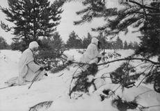 Two soldiers on snowy area.