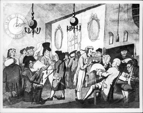 """A caricature representing """"The Coffee Room at Lloyd's in 1798"""" also known as """"The Captain's Room"""""""