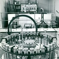 """In the foreground the new """"printzebrans"""" upper part. In the background research reactor R 0"""