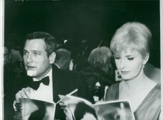 Actor Paul Newman with his wife Joanne Woodward at the Oscars gala at Cocoanut Grove