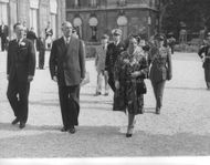 Prince Bernhard, Charles de Gaulle and Queen Juliana walking together.  - Apr 1962