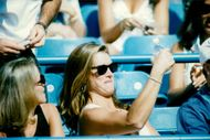 Actress Brooke Shields among the spectators during Andre Agassi's match against Jared Palmer in the US Tennis Open