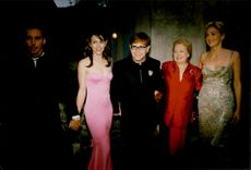 Sharon Stone, Elton John, President of AMFAR, Liz Hurley and Elton John's Companion David at Moulin de Mougins for dinner in favor of AIDS