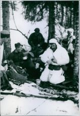 British and Norwegians halting in the wood near Grong.
