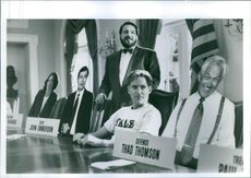 """Kevin Dunn and Kevin Kline in a scene from the film called """"Dave""""."""
