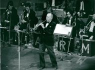 American jazz musician Woody Herman performs at the Oscar Theater.