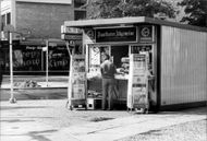 Kiosk with newspaper stand