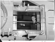 The head of the FAA, Director General Bo Lundberg (right), and the head of the institution aerodynamic department, engineer E. Petersohn, at the smaller of the two new supersonic tunnels in Ulvsunda.