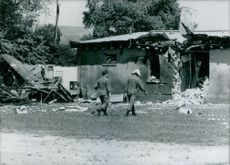 The British Army's barracks in Osnabruck, West Germany, after a bomb attack for which the IRA claimed responsibility.