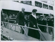 Princess Alexandra, The Honourable Lady Ogilvy is disembarking from a ship.