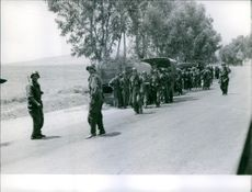 Soldiers standing on road and looking at something.