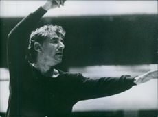 Portrait of an American composer, conductor, author, music lecturer, and pianist Leonard Bernstein composing. 1962