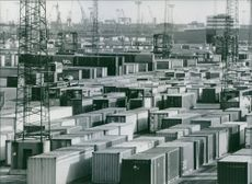 The container terminal in Hamburg which measures 1.5 million square metres, and has a quayside 2.4 km. ling with space for then ships to moor. 1984.