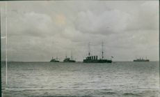 English cruisers on the sea during WWI, 1915.