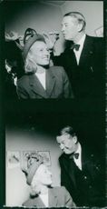 Maurice Chevalier feeling happy with a woman, Stockholm 1946.