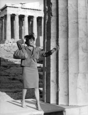 Pascale Petit standing next to column in Athens.
