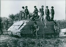 An armoured car, manned by Lebanese Christians, patrolling the border area; its tacit task is to keep guerrillas away from this sensitive area, 1977