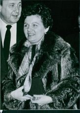 Emiliya Andreyevna Gromyko-Piradowa arrival at an event. 1983.