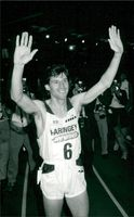 Sebastian Coe waving goodbye to his fans after the victory