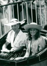 Princess Michael of Kent sharing an open carriage with Princess Maria Gabriella.