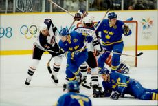 Sweden meets the United States during the 1998 Olympics.