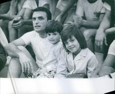 Ed Nelson with two of his children, 1968.