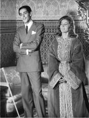 Prince Moulay Abdallah of Morocco and wife Lamia Solh standing.