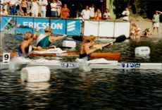 Agneta Andersson and Susanne Gunnarsson, gold medalists in the canoe during the Olympic Games in Atlanta in 1996, attend the Drakrodden in Stockholm