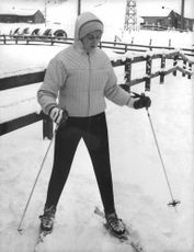 Princess Alexandra skiing on the ice.