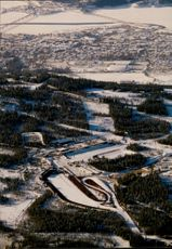 Aerial view from Birkebeinerrennet ski stadium with Lillehammer in the backround.