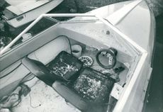 High angle view of a broken motorboat.