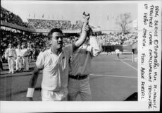 Mikael Pernfors leads triumphal victory after winning the Davis Cup