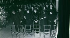 People attending the funeral ceremony of French actor and singer Fernandel, 1971.