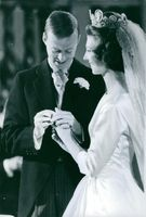 Princess Désirée and Baron Nils-August Silfverschiöld during their wedding day, 1964.