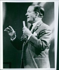 Ted Ray on mike at the stage. 1969.
