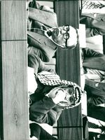 Chilean Communist leader Luis Corvalán and PLO leader Yassir Arafat at a meeting in East Berlin