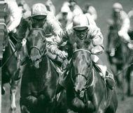 Lester Piggott at Cavo Doro loses in the final squad against Edward Hide at Morston at Derby on Epsom