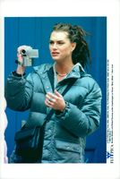 """Actress Brooke Shields during the recording of the movie """"Black and White"""""""