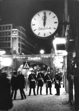 The four policemen from Klara police station shows that Kungsgatan in Stockholm are almost deserted them quietest New Year's night in several years