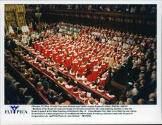 Members of the House of Lords and House of Commons listen to the Queen's speech during parliament's opening of the state.