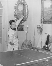 Jacques Charrier playing table tennis.