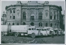 Swedish help. 1945 Red cross trucks getting ready for relief missions.