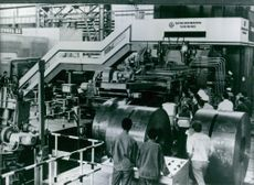 The cold rolling mill in operation at the newly completed Wuhan Iron and Steel Company. 1981.