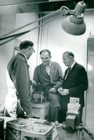 Director and camera designer Victor Hasselblad together with his co-workers Brothers Åke and Gustaf Tranefors.