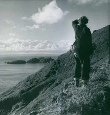Woman looking at distance.   A mountain climber woman.  1954