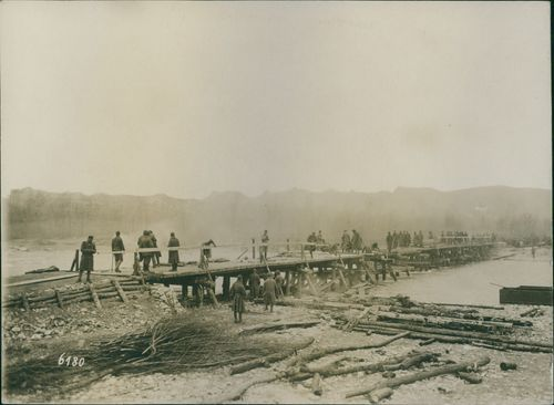 Soldiers repairing a destroyed bridge during 1917, at the time of ending world war I in Poland.