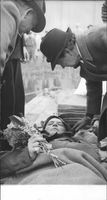 Lieutenant Hallquist from the Swedish Red Cross was injured in one of the helper expeditions, met here by his mother when arriving at Lindarängen Airport. - 31 May 1945