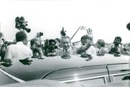 Richard Nixon arrives at Hyden for his first public appearance since he resigned on 9 August 1974