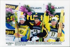 Magdalena Forsberg, Martina Zellner and Olena Zubrilova, World Cup medalists 7.5 km sprint.